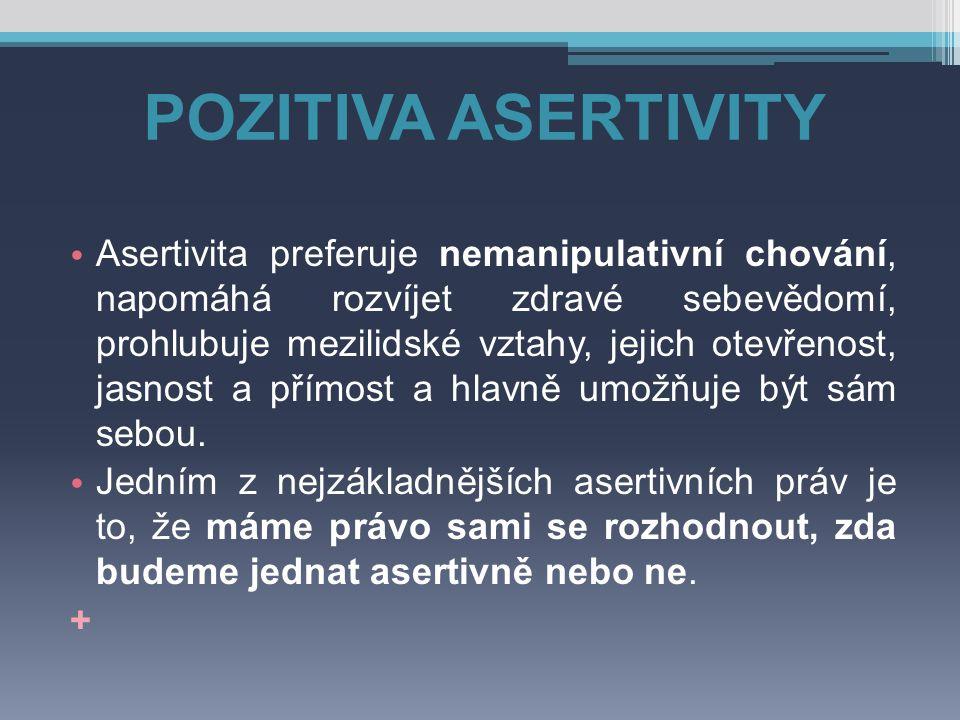 POZITIVA ASERTIVITY Asertivita preferuje nemanipulativní chování, napomáhá rozvíjet zdravé sebevědomí, prohlubuje mezilidské vztahy, jejich otevřenost
