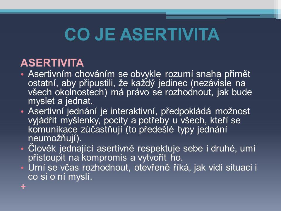 CO JE ASERTIVITA ASERTIVITA Asertivním chováním se obvykle rozumí snaha přimět ostatní, aby připustili, že každý jedinec (nezávisle na všech okolnoste