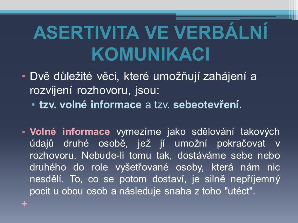 ASERTIVITA VE VERBÁLNÍ KOMUNIKACI Sebeotevření je druhá důležitá podmínka pro fungování konverzace.
