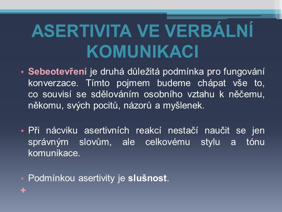 ASERTIVNÍ TECHNIKY ▫ Používejme pomocné věty.
