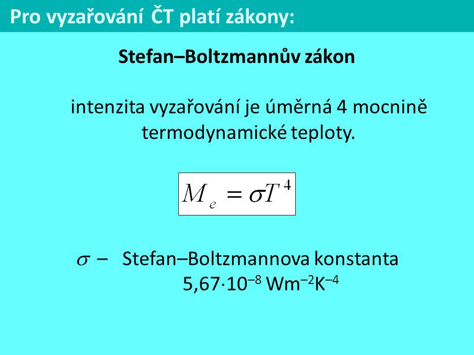 Pro vyzařování ČT platí zákony: Stefan–Boltzmannův zákon intenzita vyzařování je úměrná 4 mocnině termodynamické teploty.  – Stefan–Boltzmannova kons