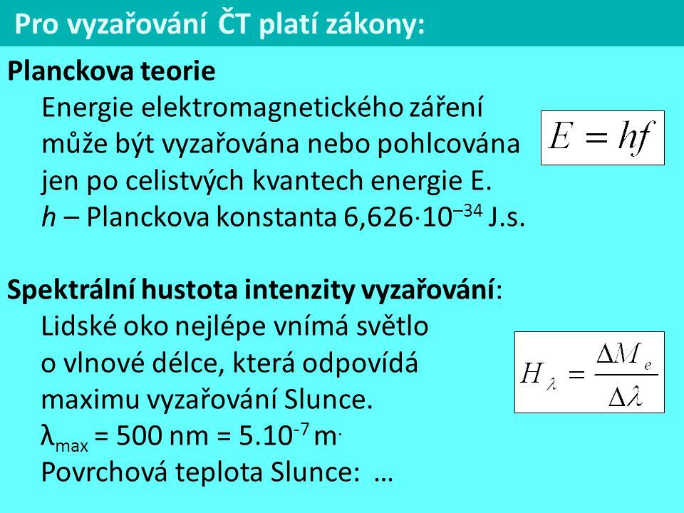 Pro vyzařování ČT platí zákony: Planckova teorie Energie elektromagnetického záření může být vyzařována nebo pohlcována jen po celistvých kvantech ene