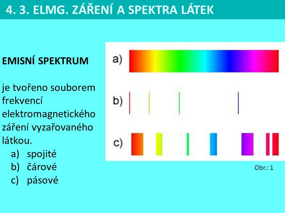 4.3. ELMG. ZÁŘENÍ A SPEKTRA LÁTEK Čárové spektrum obsahuje jen některé vlnové délky tzv.