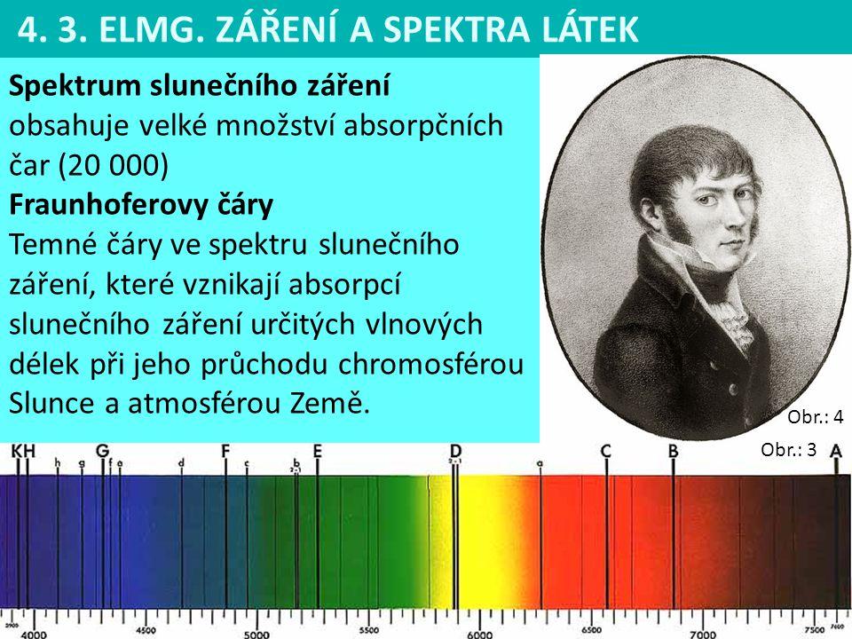 4. 3. ELMG. ZÁŘENÍ A SPEKTRA LÁTEK Spektrum slunečního záření obsahuje velké množství absorpčních čar (20 000) Fraunhoferovy čáry Temné čáry ve spektr