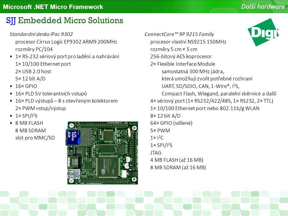 Microsoft.NET Micro Framework Další hardware Standardní deska iPac 9302 procesor Cirrus Logic EP9302 ARM9 200MHz rozměry PC/104 1× RS-232 sériový port