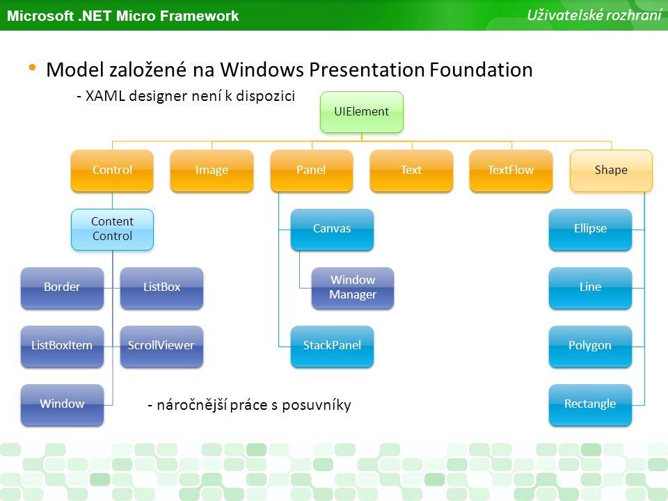 Microsoft.NET Micro Framework Uživatelské rozhraní Model založené na Windows Presentation Foundation - XAML designer není k dispozici UIElementControl