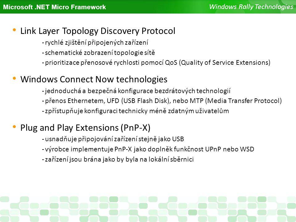 Microsoft.NET Micro Framework Windows Rally Technologies Link Layer Topology Discovery Protocol -rychlé zjištění připojených zařízení -schematické zob