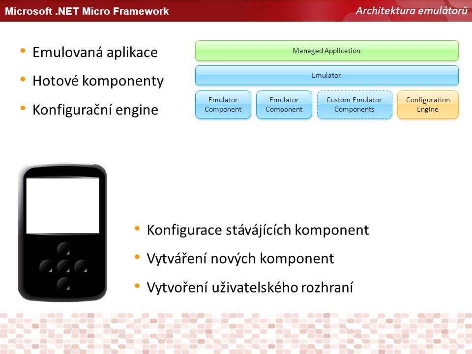 Microsoft.NET Micro Framework Architektura emulátorů Managed Application Emulator Emulator Component Custom Emulator Components Configuration Engine E
