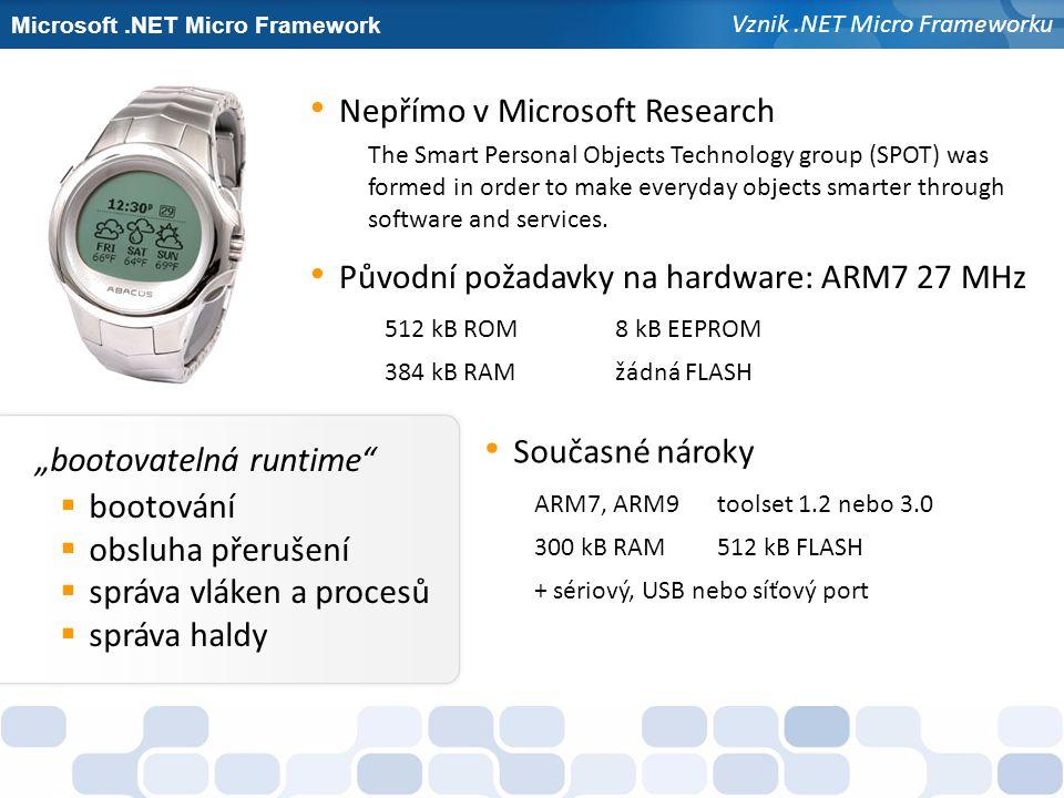 """Microsoft.NET Micro Framework Vznik.NET Micro Frameworku """"bootovatelná runtime""""  bootování  obsluha přerušení  správa vláken a procesů  správa hal"""