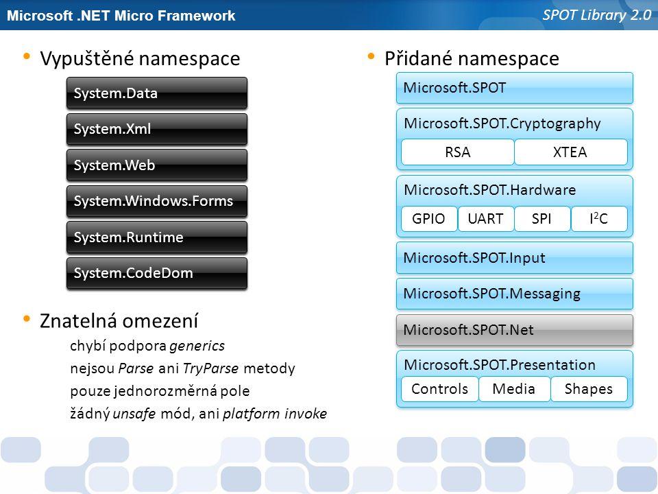Microsoft.NET Micro Framework SPOT Library 2.0 Znatelná omezení System.Web System.Data System.Xml System.Windows.Forms System.Runtime System.CodeDom V