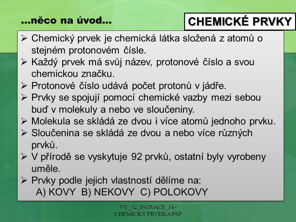 CHEMICKÉ PRVKY NÁZVY PRVKŮ Český název Většinou odvozen od zahraničních názvů.