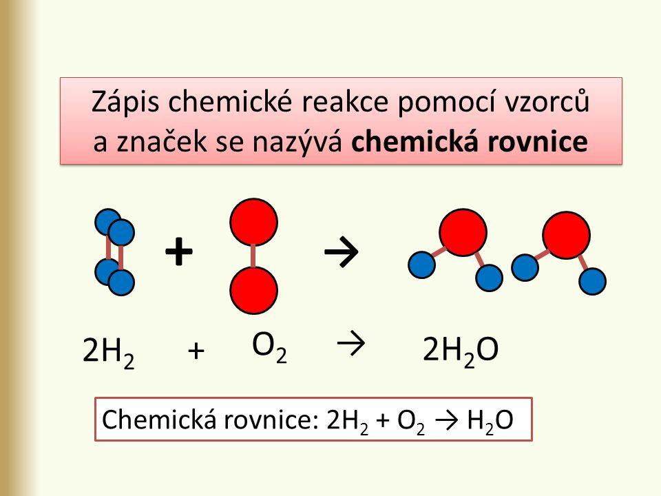 + → 2H 2 → O2O2 2H 2 O + Zápis chemické reakce pomocí vzorců a značek se nazývá chemická rovnice Zápis chemické reakce pomocí vzorců a značek se nazývá chemická rovnice Chemická rovnice: 2H 2 + O 2 → H 2 O