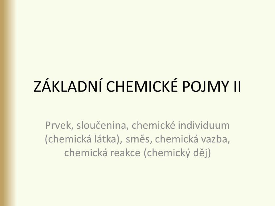 ZÁKLADNÍ CHEMICKÉ POJMY II Prvek, sloučenina, chemické individuum (chemická látka), směs, chemická vazba, chemická reakce (chemický děj)