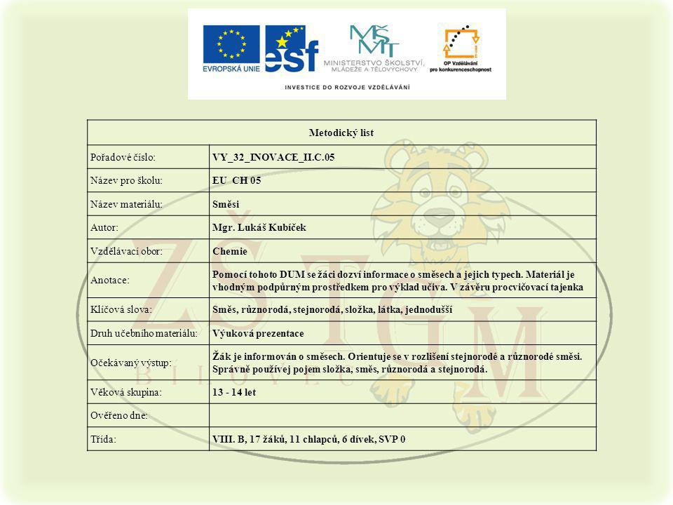 Metodický list Pořadové číslo:VY_32_INOVACE_II.C.05 Název pro školu:EU CH 05 Název materiálu:Směsi Autor:Mgr.