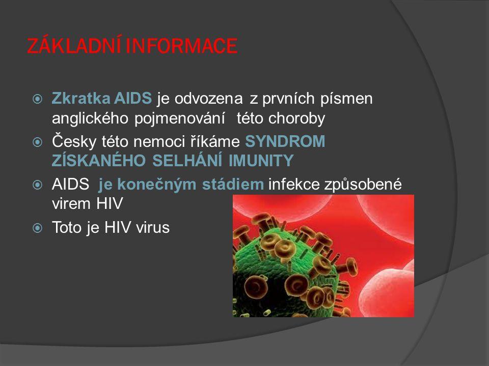 ZÁKLADNÍ INFORMACE  Zkratka AIDS je odvozena z prvních písmen anglického pojmenování této choroby  Česky této nemoci říkáme SYNDROM ZÍSKANÉHO SELHÁN