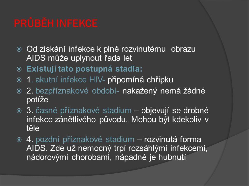 PRŮBĚH INFEKCE  Od získání infekce k plně rozvinutému obrazu AIDS může uplynout řada let  Existují tato postupná stadia:  1. akutní infekce HIV- př