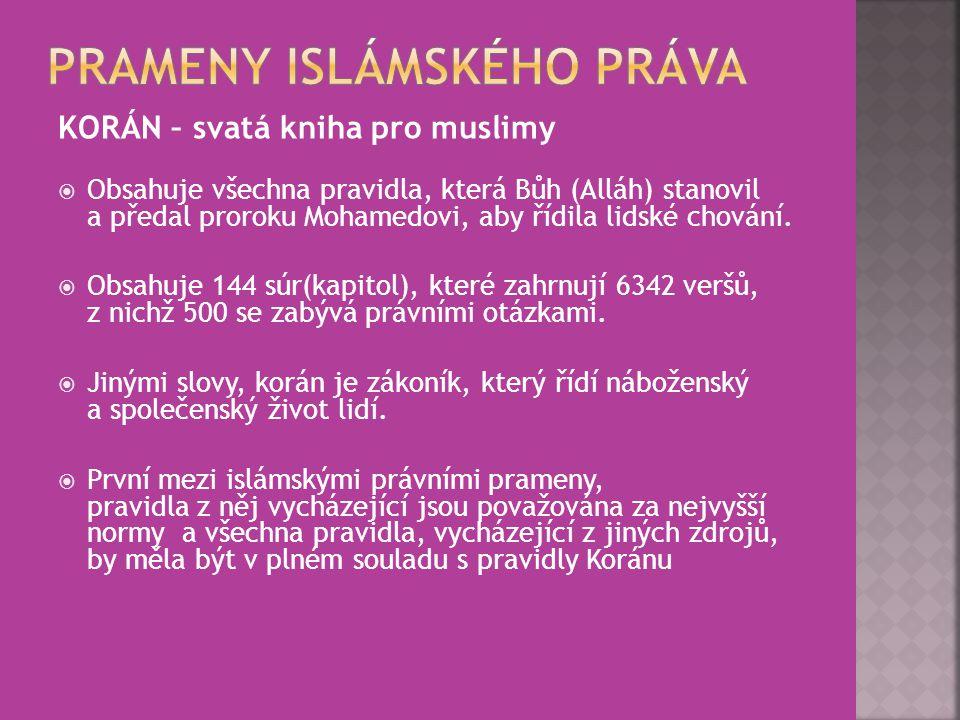 KORÁN – svatá kniha pro muslimy  Obsahuje všechna pravidla, která Bůh (Alláh) stanovil a předal proroku Mohamedovi, aby řídila lidské chování.  Obsa