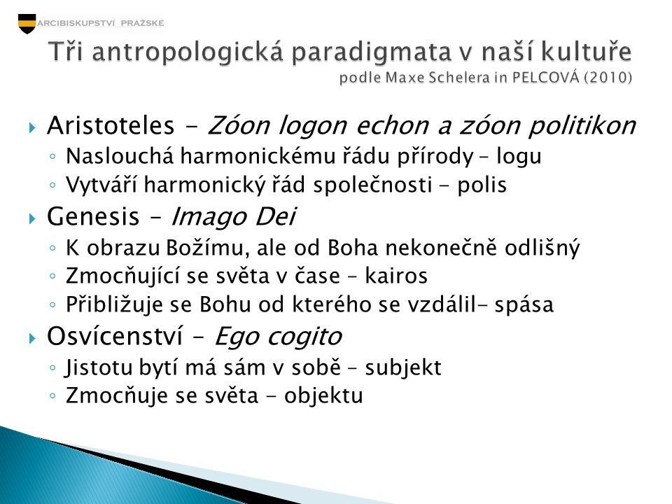  Aristoteles - Zóon logon echon a zóon politikon ◦ Naslouchá harmonickému řádu přírody – logu ◦ Vytváří harmonický řád společnosti - polis  Genesis