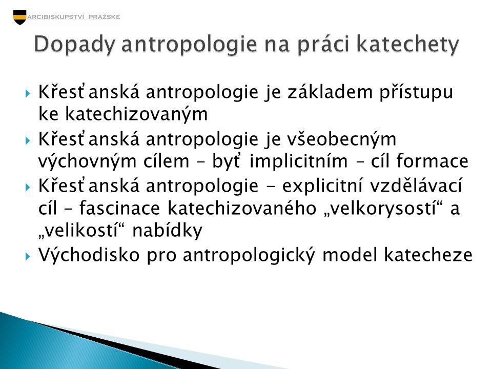  Křesťanská antropologie je základem přístupu ke katechizovaným  Křesťanská antropologie je všeobecným výchovným cílem – byť implicitním – cíl forma