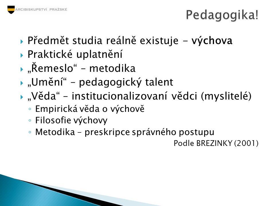 """ Předmět studia reálně existuje - výchova  Praktické uplatnění  """"Řemeslo"""" – metodika  """"Umění"""" – pedagogický talent  """"Věda"""" – institucionalizovaní"""