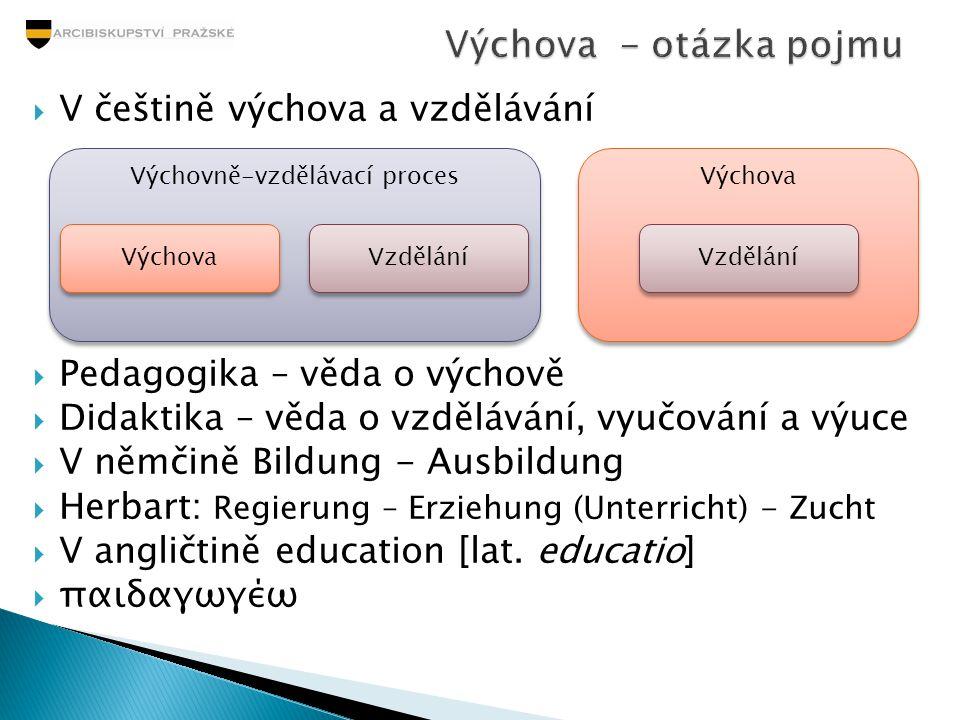 V češtině výchova a vzdělávání  Pedagogika – věda o výchově  Didaktika – věda o vzdělávání, vyučování a výuce  V němčině Bildung - Ausbildung  H