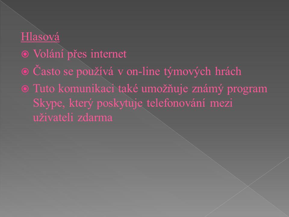 Hlasová  Volání přes internet  Často se používá v on-line týmových hrách  Tuto komunikaci také umožňuje známý program Skype, který poskytuje telefo