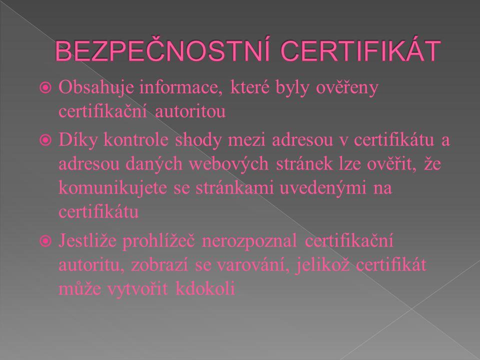  Obsahuje informace, které byly ověřeny certifikační autoritou  Díky kontrole shody mezi adresou v certifikátu a adresou daných webových stránek lze