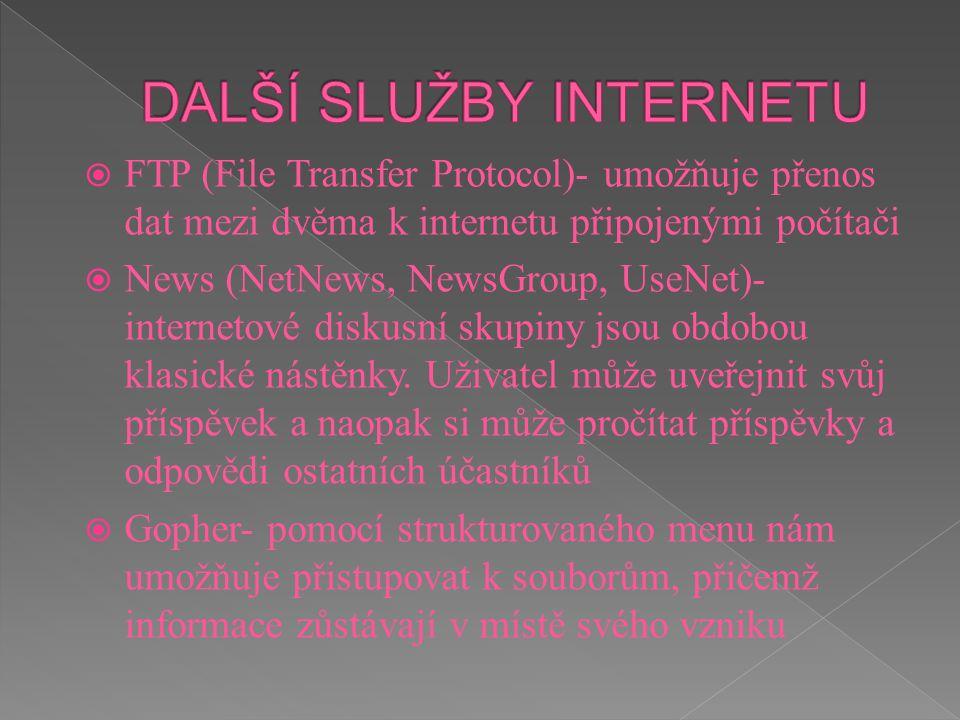  FTP (File Transfer Protocol)- umožňuje přenos dat mezi dvěma k internetu připojenými počítači  News (NetNews, NewsGroup, UseNet)- internetové disku