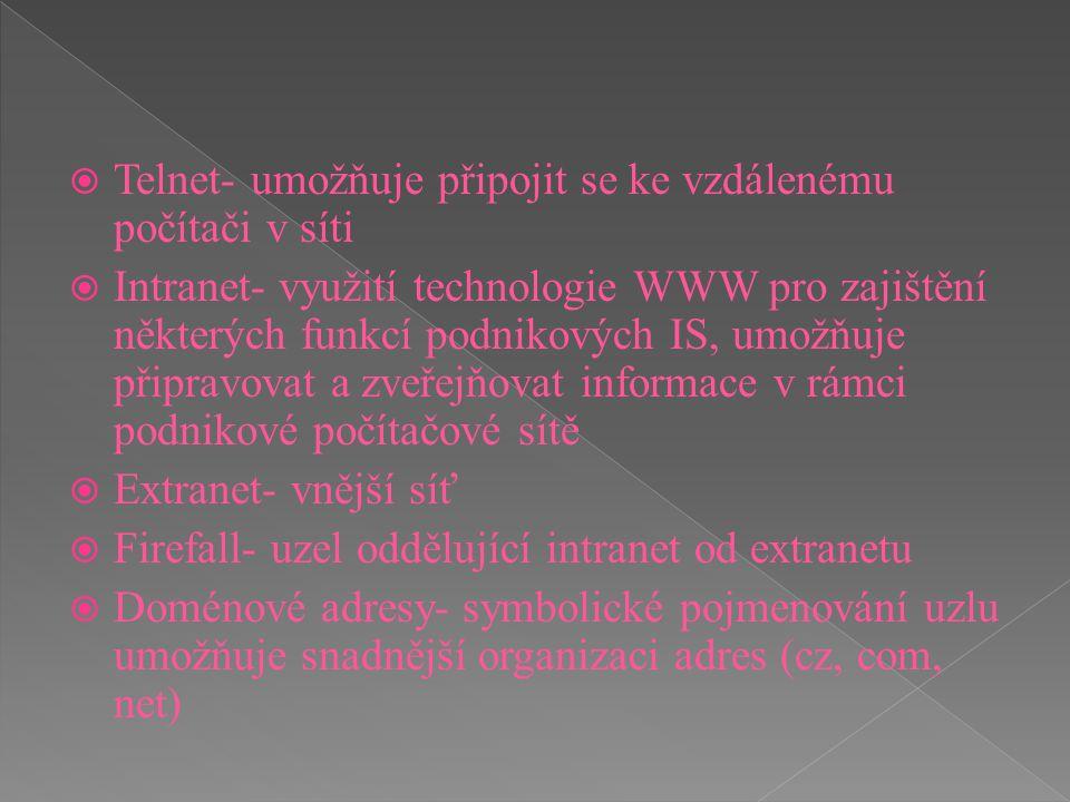  Telnet- umožňuje připojit se ke vzdálenému počítači v síti  Intranet- využití technologie WWW pro zajištění některých funkcí podnikových IS, umožňu