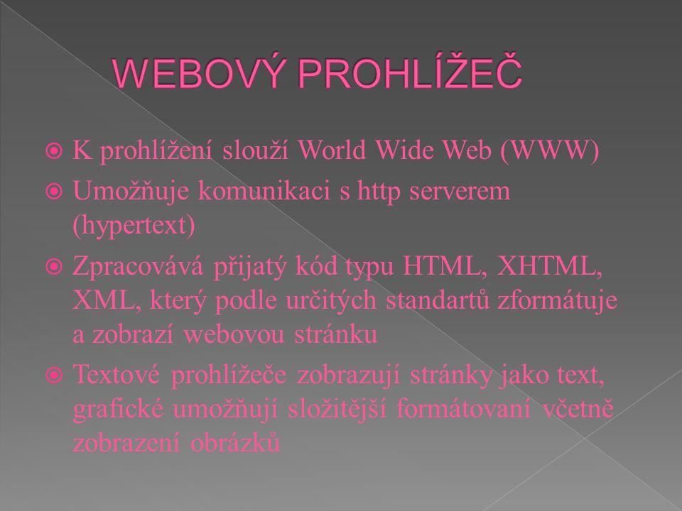  K prohlížení slouží World Wide Web (WWW)  Umožňuje komunikaci s http serverem (hypertext)  Zpracovává přijatý kód typu HTML, XHTML, XML, který pod
