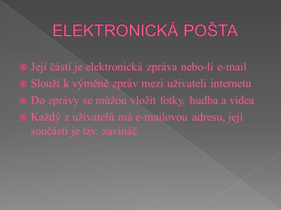  Její částí je elektronická zpráva nebo-li e-mail  Slouží k výměně zpráv mezi uživateli internetu  Do zprávy se můžou vložit fotky, hudba a videa 