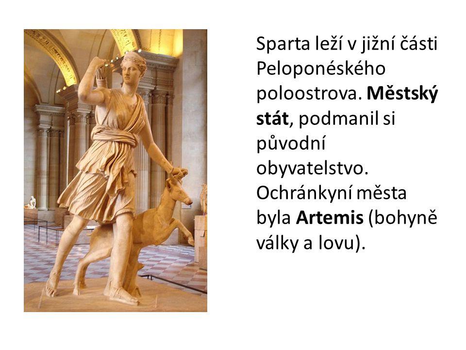 Sparta leží v jižní části Peloponéského poloostrova. Městský stát, podmanil si původní obyvatelstvo. Ochránkyní města byla Artemis (bohyně války a lov