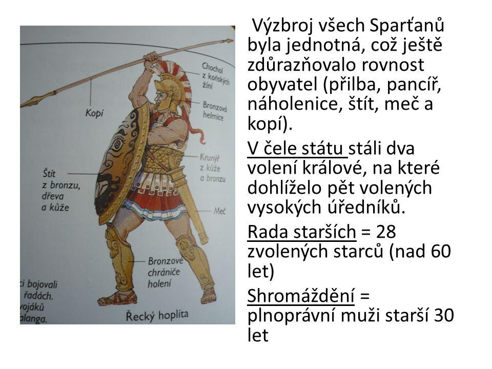 Výzbroj všech Sparťanů byla jednotná, což ještě zdůrazňovalo rovnost obyvatel (přilba, pancíř, náholenice, štít, meč a kopí). V čele státu stáli dva v