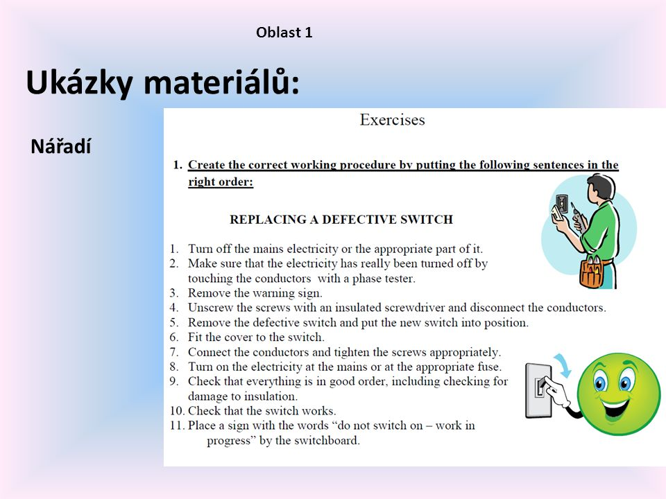 Oblast 1 Ukázky materiálů: Nářadí