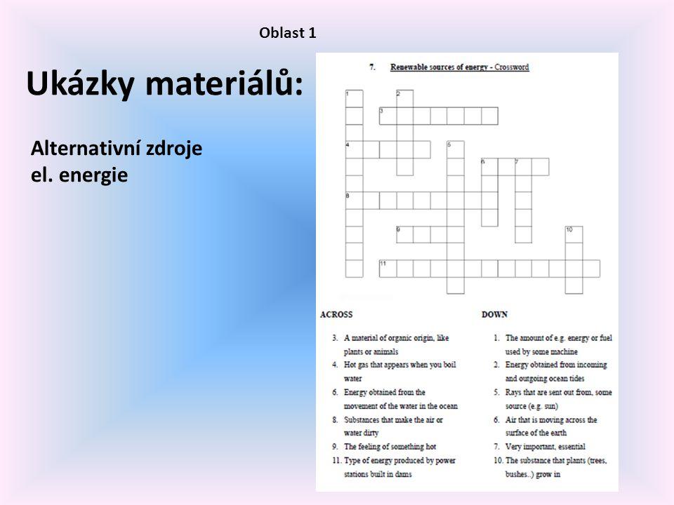 Oblast 1 Ukázky materiálů: Alternativní zdroje el. energie