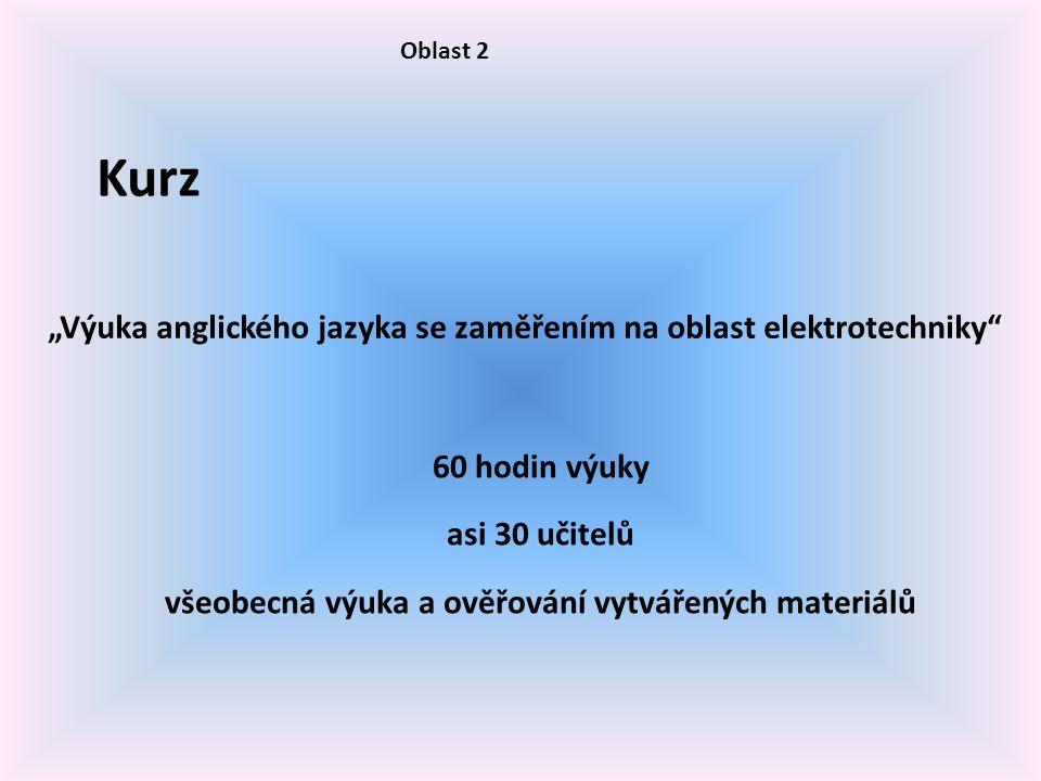 """Oblast 2 Kurz """"Výuka anglického jazyka se zaměřením na oblast elektrotechniky 60 hodin výuky asi 30 učitelů všeobecná výuka a ověřování vytvářených materiálů"""