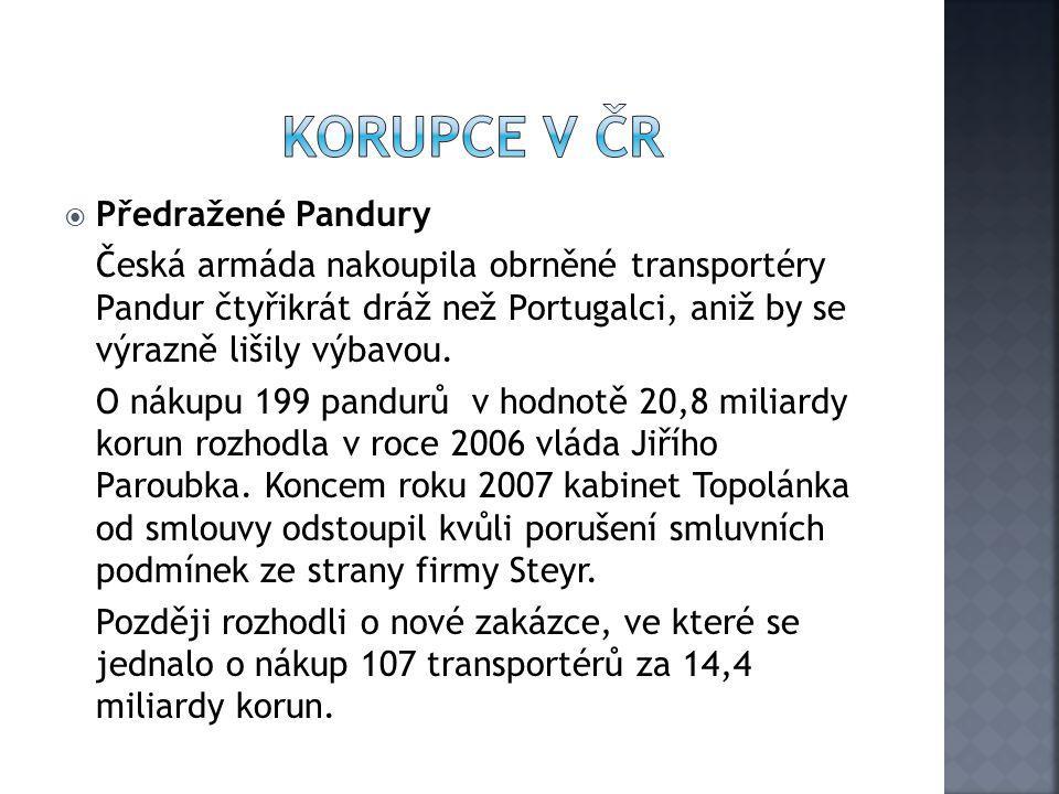  Předražené Pandury Česká armáda nakoupila obrněné transportéry Pandur čtyřikrát dráž než Portugalci, aniž by se výrazně lišily výbavou. O nákupu 199