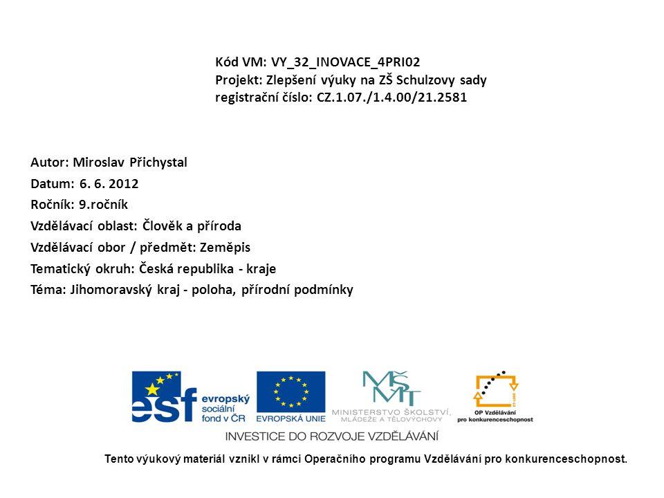 Kód VM: VY_32_INOVACE_4PRI02 Projekt: Zlepšení výuky na ZŠ Schulzovy sady registrační číslo: CZ.1.07./1.4.00/21.2581 Autor: Miroslav Přichystal Datum: 6.