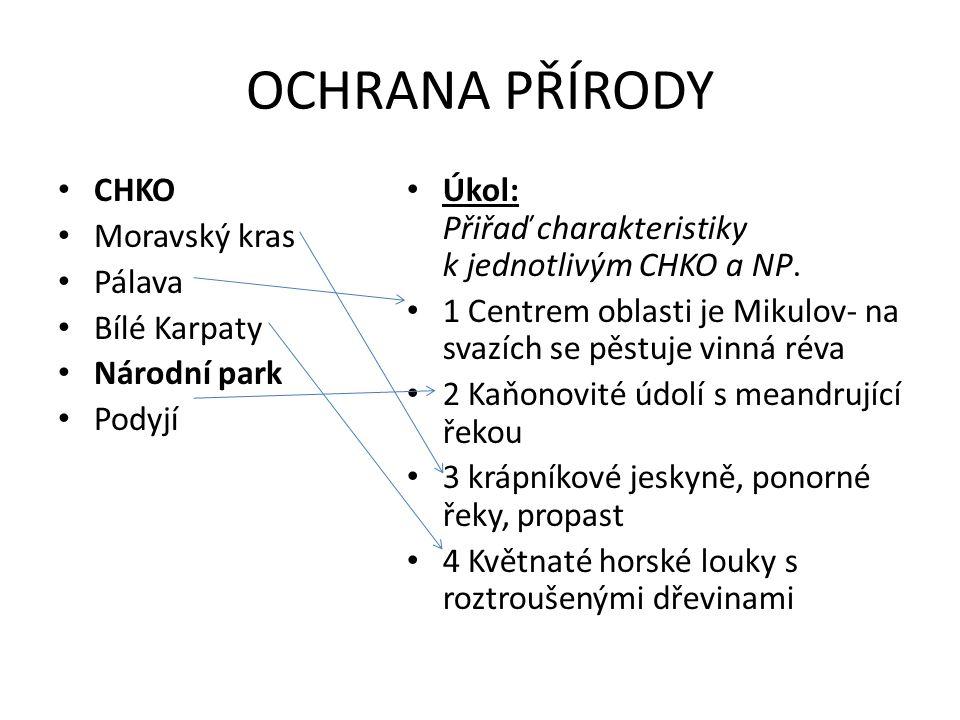OCHRANA PŘÍRODY CHKO Moravský kras Pálava Bílé Karpaty Národní park Podyjí Úkol: Přiřaď charakteristiky k jednotlivým CHKO a NP.