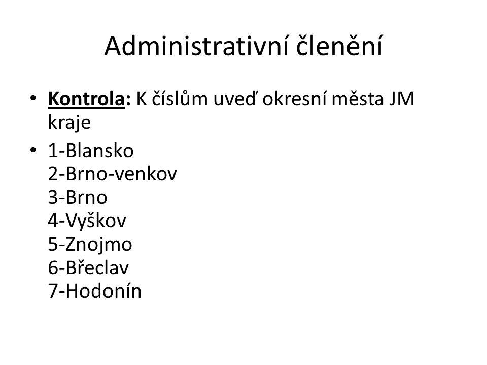 Administrativní členění Kontrola: K číslům uveď okresní města JM kraje 1-Blansko 2-Brno-venkov 3-Brno 4-Vyškov 5-Znojmo 6-Břeclav 7-Hodonín