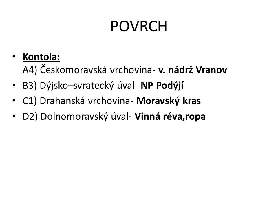 POVRCH Kontola: A4) Českomoravská vrchovina- v.