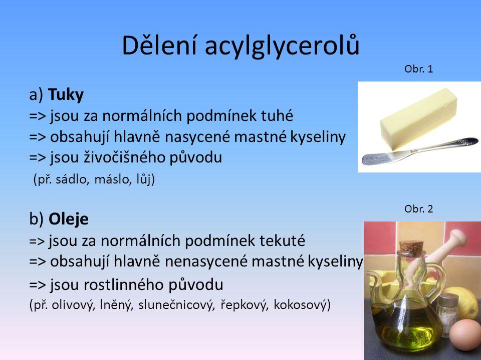 Dělení acylglycerolů a) Tuky => jsou za normálních podmínek tuhé => obsahují hlavně nasycené mastné kyseliny => jsou živočišného původu (př. sádlo, má