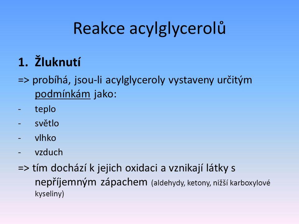 Reakce acylglycerolů 1.Žluknutí => probíhá, jsou-li acylglyceroly vystaveny určitým podmínkám jako: -teplo -světlo -vlhko -vzduch => tím dochází k jej