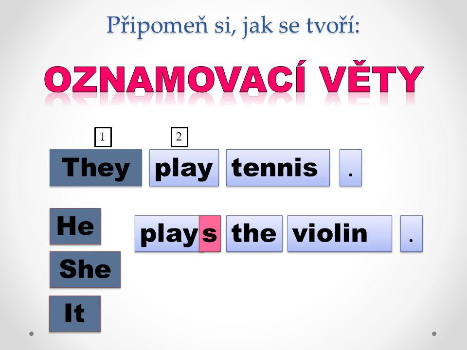 Připomeň si, jak se tvoří: play tennis.. They He She It play s s the violin.. 12