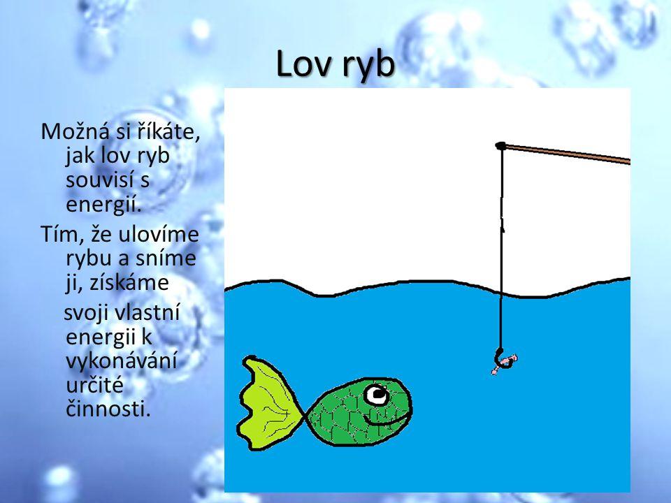 Lov ryb Možná si říkáte, jak lov ryb souvisí s energií. Tím, že ulovíme rybu a sníme ji, získáme svoji vlastní energii k vykonávání určité činnosti.
