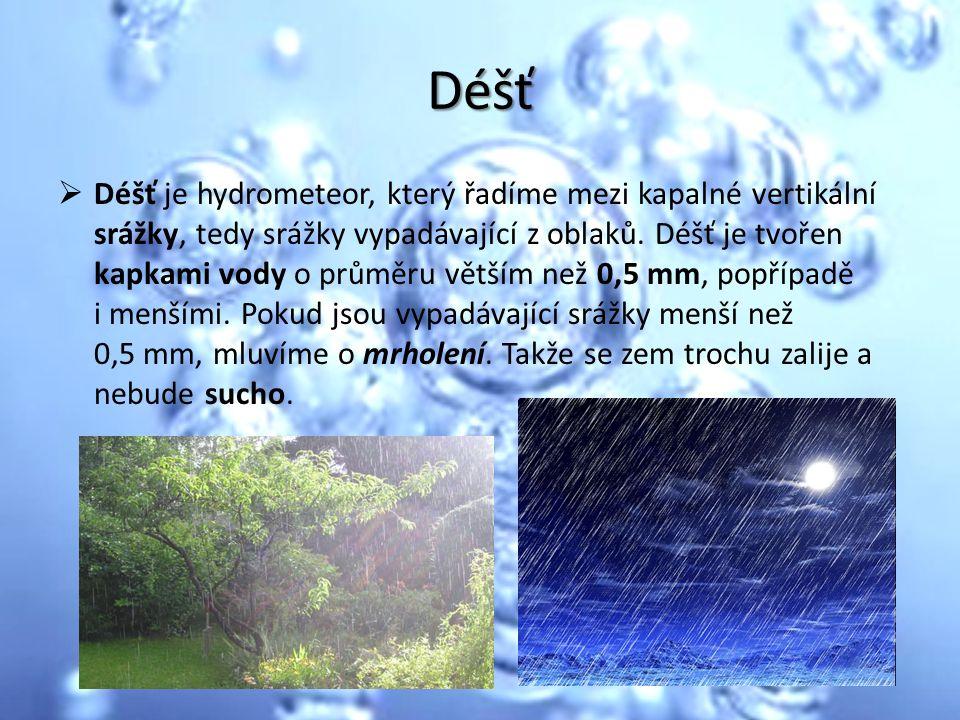 Déšť  Déšť je hydrometeor, který řadíme mezi kapalné vertikální srážky, tedy srážky vypadávající z oblaků. Déšť je tvořen kapkami vody o průměru větš