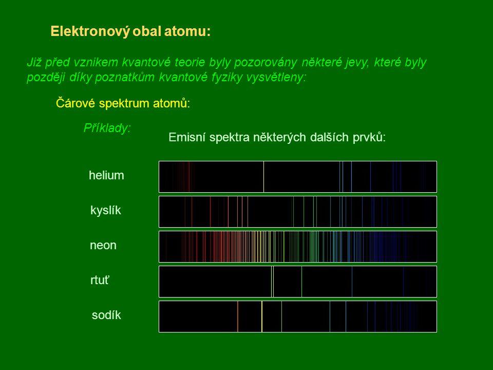 Elektronový obal atomu: Již před vznikem kvantové teorie byly pozorovány některé jevy, které byly později díky poznatkům kvantové fyziky vysvětleny: Č