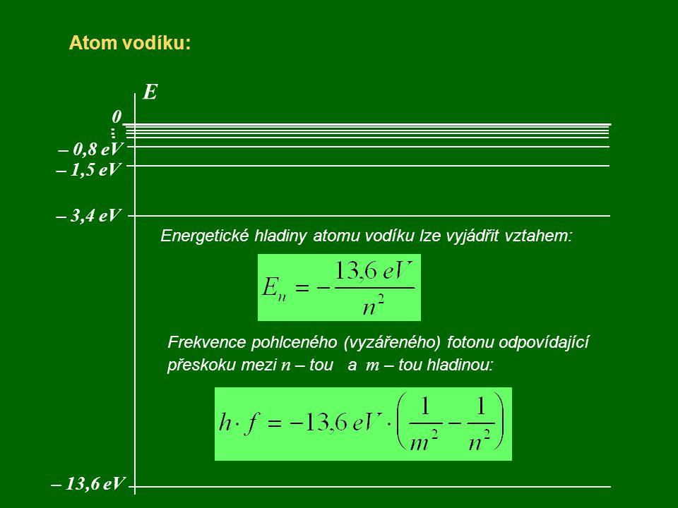 Atom vodíku: E 0 – 13,6 eV... – 3,4 eV – 1,5 eV – 0,8 eV Energetické hladiny atomu vodíku lze vyjádřit vztahem: Frekvence pohlceného (vyzářeného) foto