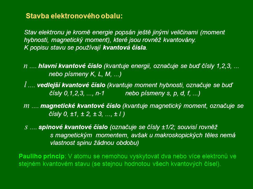 Stavba elektronového obalu: Stav elektronu je kromě energie popsán ještě jinými veličinami (moment hybnosti, magnetický moment), které jsou rovněž kva