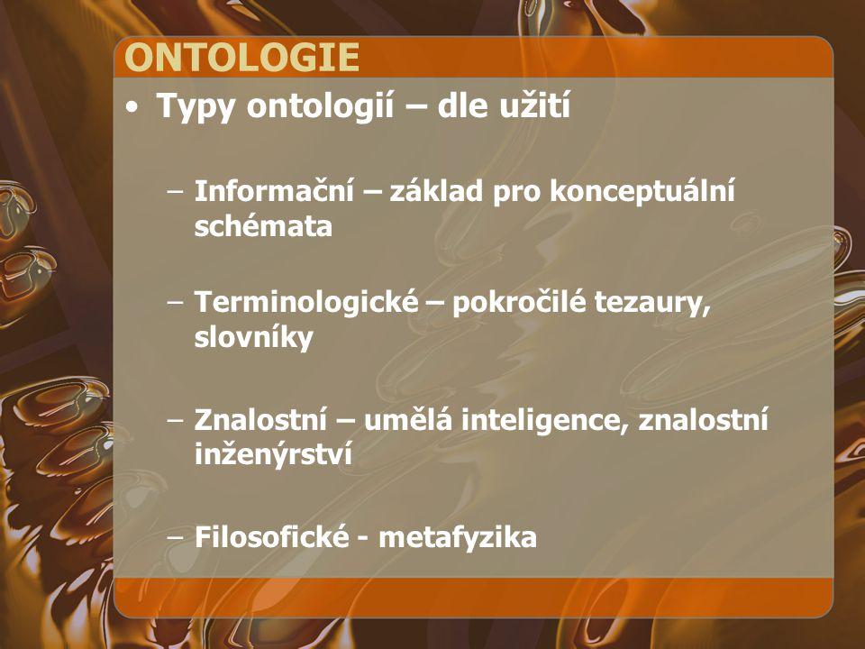 ONTOLOGIE Typy ontologií – dle užití –Informační – základ pro konceptuální schémata –Terminologické – pokročilé tezaury, slovníky –Znalostní – umělá i